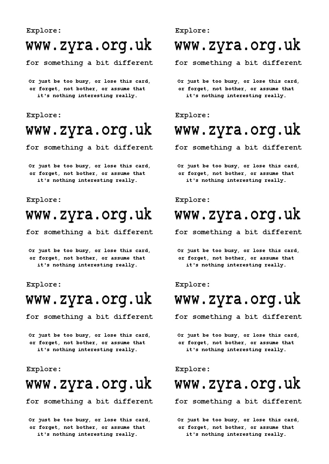 Zyra.org.uk business card x10